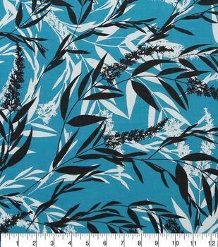Specialty Cotton Gauze Fabric-Teal, White & Black Wispy Stems
