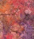 Batik Cotton Fabric 44\u0022-Hot Rainbow Scrolls Metallic