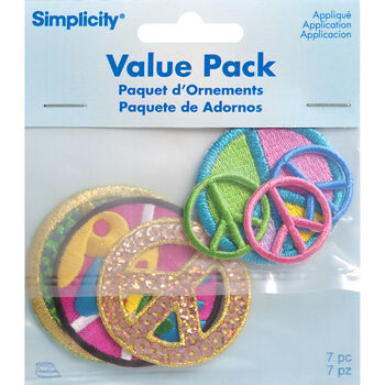 Simplicity Iron-On Applique-Assorted Peace Sign Pack-7 pcs