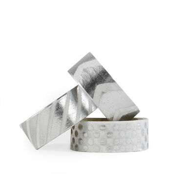Park Lane 3 pk Washi Tapes 0.6''x5 yds-Silver Foil Basics