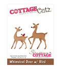 CottageCutz Dies-Whimsical Deer With Bird