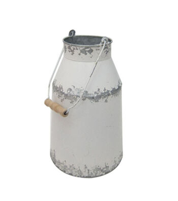 Fresh Picked Spring Small White Washed Milk Can
