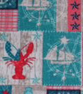 Anti-Pill Fleece Fabric -Coral Lobster & Nautical Patchwork