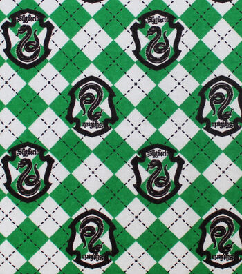 "Harry Potter Flannel Fabric 42""-Argyle & Slytherin"