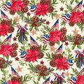 Christmas Cotton Fabric-America Poinsettia & Ornament