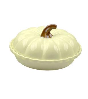 Round Covered Pumpkin Dish 12''-White