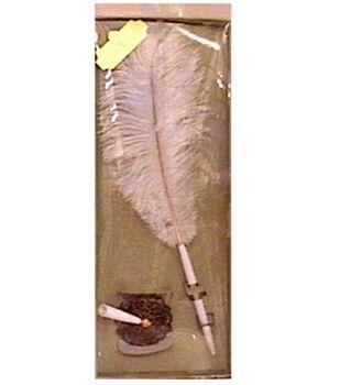 Darice Feather Pen & Holder Set-White