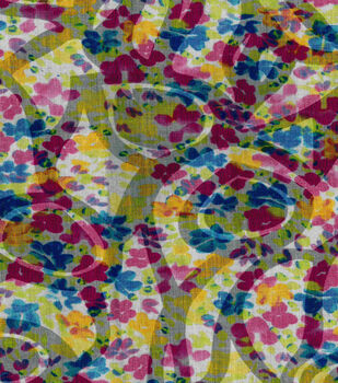 Burnout Cotton Fabric-Packed Floral Multi