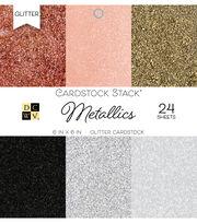 DCWV 24 Pack 6''x6'' Glitter Cardstock Stacks-Metallics, , hi-res
