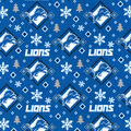 Christmas Detroit Lions Flannel Fabric-Holiday