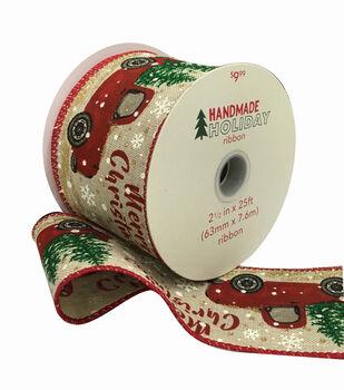 Handmade Holiday Christmas Ribbon 2.5''x25'-Merry Christmas & Truck