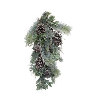 Handmade Holiday Water Resistant Pine & Pinecone Outdoor Teardrop Wreath