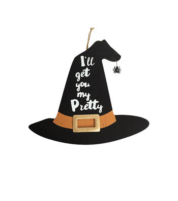 Maker's Halloween 16''x28'' Witch Hat Wall Decor-I'll Get You My Pretty