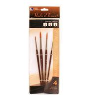 Loew-Cornell Studio Elements 4 pk Round Golden Taklon Brushes, , hi-res