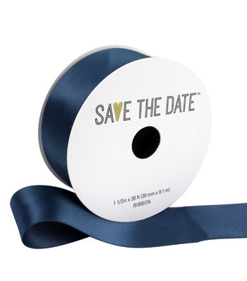 "Save the Date 1.5"" x 30ft Ribbon-Cornflower Blue Satin"