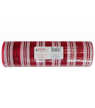 Handmade Holiday Decorative Mesh Ribbon 10''x30'-Red & White Stripes