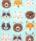 No-Sew Throw Fleece Fabric 48\u0022-Animal Faces
