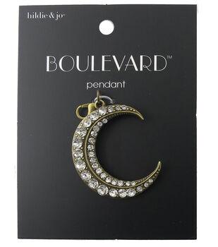 hildie & jo Boulevard Crescent Antique Gold Pendant-Clear Crystal