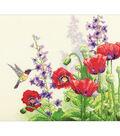 Hummingbird & Poppies Counted Cross Stitch Kit-14\u0022X11\u0022 14 Count