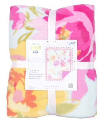 No Sew Fleece Throw Kit 72''-Painted Bird & Flowers