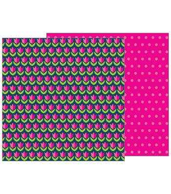 Pebbles Jen Hadfield Patio Party 12''x12'' Double-Sided Cardstock-Tulips