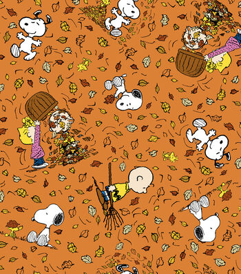 "Harvest Cotton Fabric 43""-Peanuts Falling Leaves"