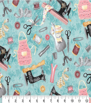 Premium Prints Cotton Fabric-Tossed Sewing Notions