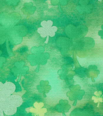 St. Patrick's Day Cotton Fabric -Tonal Shamrock Green Pearlized
