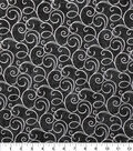 Keepsake Calico Cotton Fabric-Black Foil Swirls