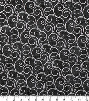 Keepsake Calico Cotton Fabric-Black Foil Swirls, , hi-res