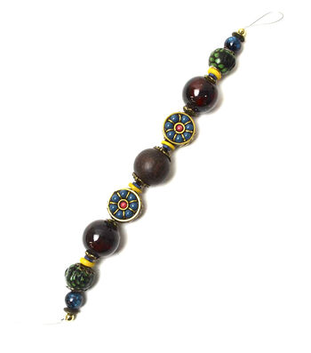 """Jesse James 7"""" Strung Beads-Mayan Boho and Faux Leather Beads"""