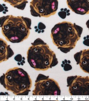 Anti-Pill Plush Fleece Fabric-Pug Faces Tossed