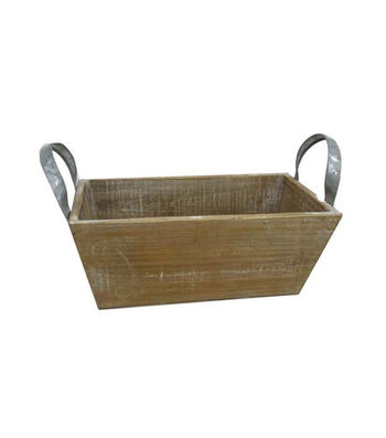 Blooming Autumn Small Wood Rectangle Planter