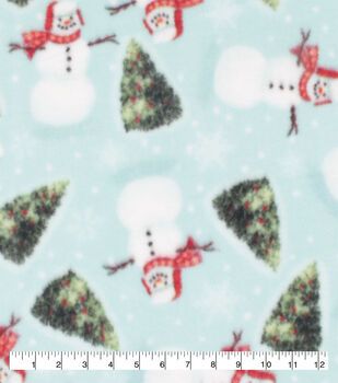 Anti-Pill Plush Fleece Fabric-Happy Snowman and Trees