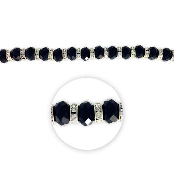 "Blue Moon Beads 7"" Crystal Strand, Rondelles with Metal Spacers, Black"