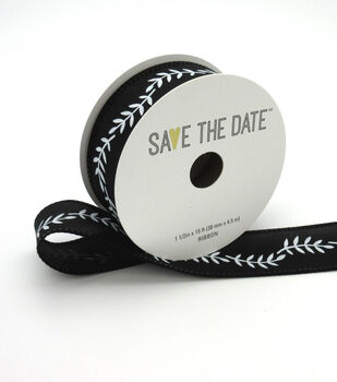 """Save the Date 1.5"""" x 15ft Ribbon-White Fern On Black"""