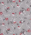 1930\u0027s Cotton Fabric 43\u0022-Floral Stems Gray