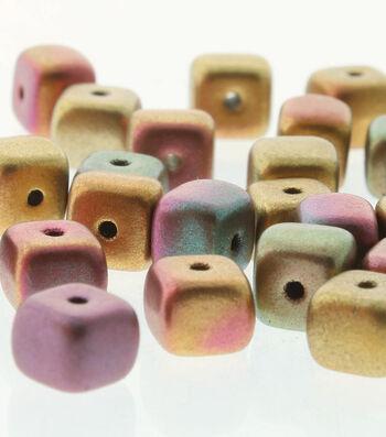 Cube Czech Glass Strung Beads 5 mmx7 mm-Dark Gold Rainbow