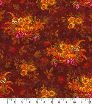 Harvest Cotton Fabric-Harvest And Sunflowers