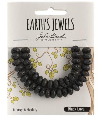 Earth's Jewels Semi-Precious Rondell 5x8mm Beads-Black Lava