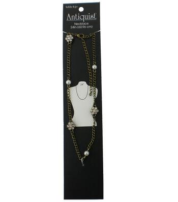 hildie & jo Antiquist 24'' Antique Gold Necklace-Rhinestone