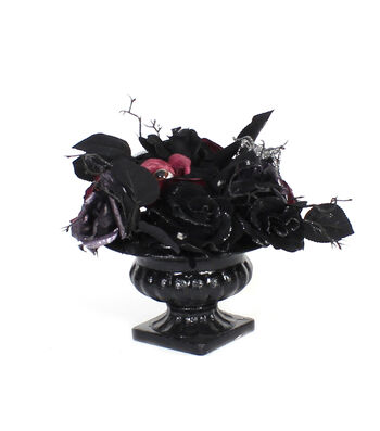 Maker's Halloween Rose Arrangement with Eyes-Purple