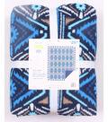 No Sew Fleece Throw 72\u0022-Blue Aztec Stripe