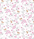 Nursery Flannel Fabric-Hazel Floral Bird