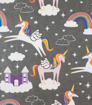 Super Snuggle Flannel Fabric-Rainbow Unicorns & Castles