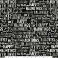 Halloween Cotton Fabric-Words On Black