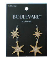 hildie & jo Boulevard 4 Pack Star Gold Charms-Clear Crystal, , hi-res
