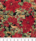 Christmas Cotton Fabric-Poinsettia With Gold Ribbon