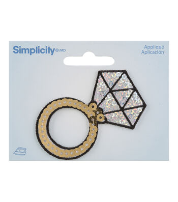 Simplicity Diamond Ring Iron-on Applique with Silver & Gold Sequins