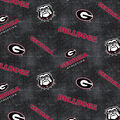 University of Georgia Bulldogs Flannel Fabric 42\u0022-Distressed Logo